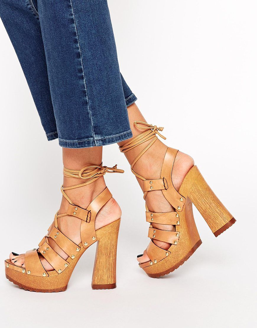 65d99c9a6ceb ASOS TURN BACK TIME Leather Heeled Sandals