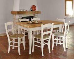 Tavolo Con 6 Sedie In Legno.Tavolo Allungabile In Legno Con 6 Sedie Shabby Chic Bicolore