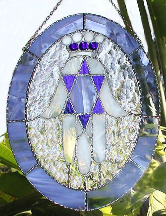 Blue Oval Hamsa Stained Glass Sun Catcher - Jewish Design Suncatcher -12