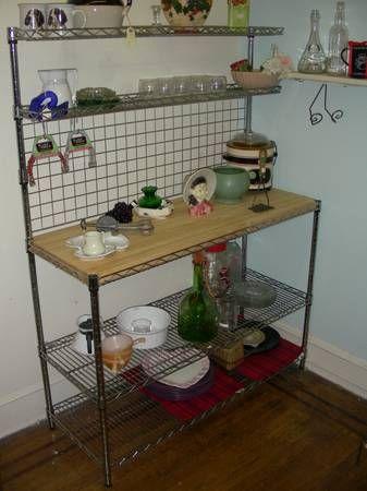 Chrome Bakers Rack With Wood Butcher Block Shelf Adjustible Shelves