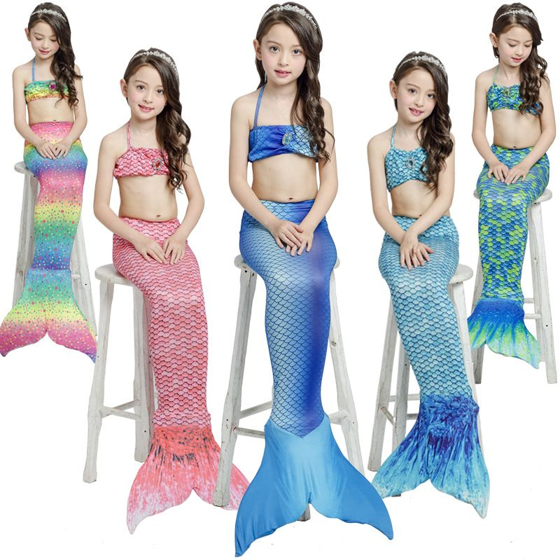 Kids Girls Fancy Mermaid Tail Bikini Set Summer Swimsuit For