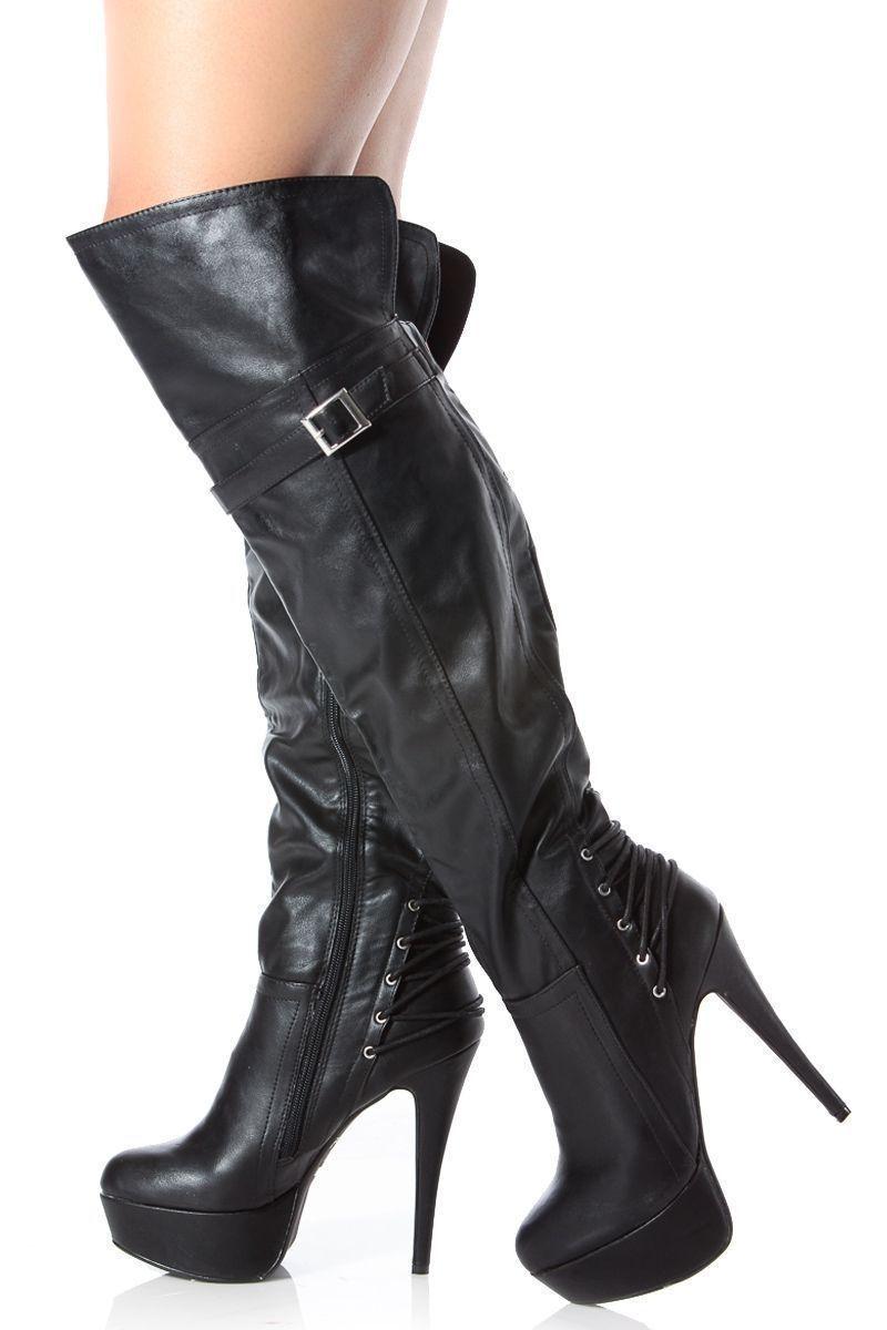 eeb83351bfc9 Black Faux Leather Thigh High Platform High Heel Boots   Cicihot Boots  Catalog women s winter boots