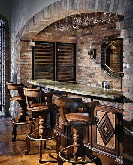 20 Small Home Bar Ideas And Space Savvy Designs: French Quarter Basement Bar.. Cute