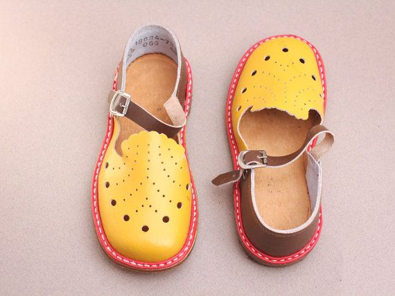 fbc5d5f9f410a 180mm Soviet children sandals made in ussr 70s – yellow red brown ...