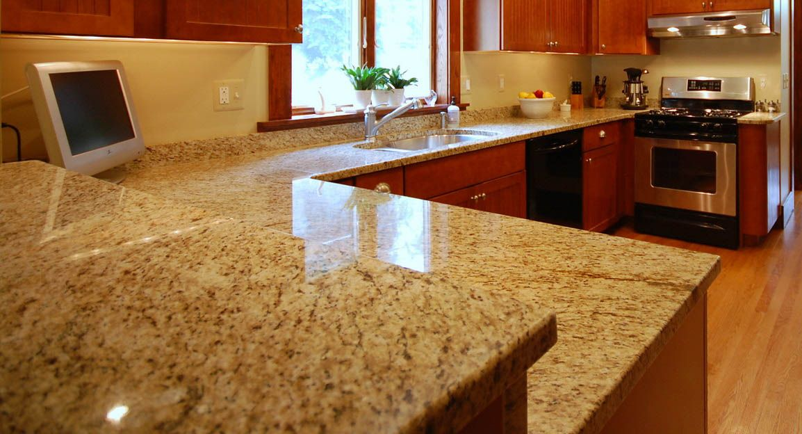 Honey Granite Slabs : Kashmir cream granite with natural cherry kitchen cabinets