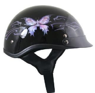 Pinstripe Rose Shorty Half DOT Approved Motorcycle Helmet Matte Scooter Biker