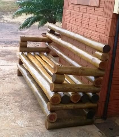 Banco r stico de madeira de eucalipto tratado medida de 1 for Inmobiliarias de bancos