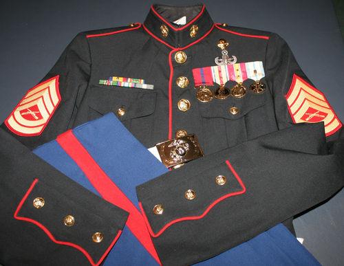 USMC Marine Corps NCO Dress Blues Uniform Gunnery Sergeant w