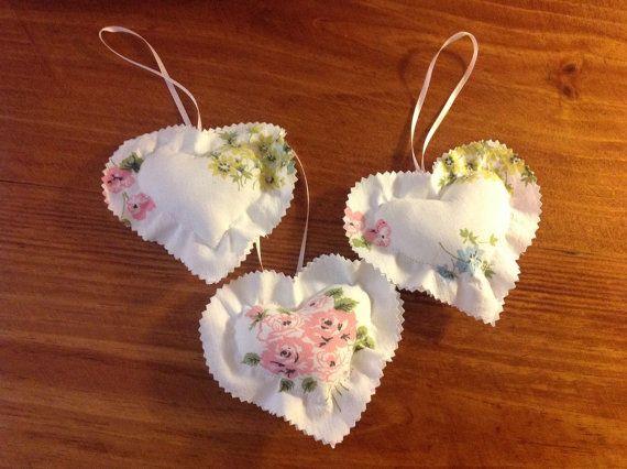 Vintage Fabric Heart Ornaments 1026-15 by UppityStuff on Etsy