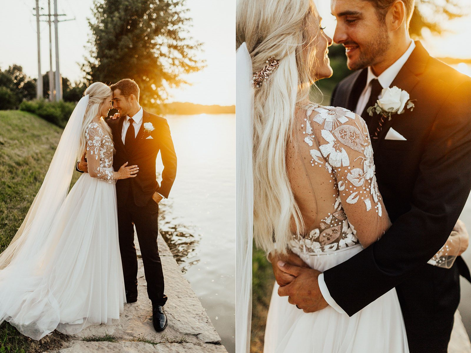 Long Sleeve Lace Open Back Wedding Dress Minimalist Gold Wedding