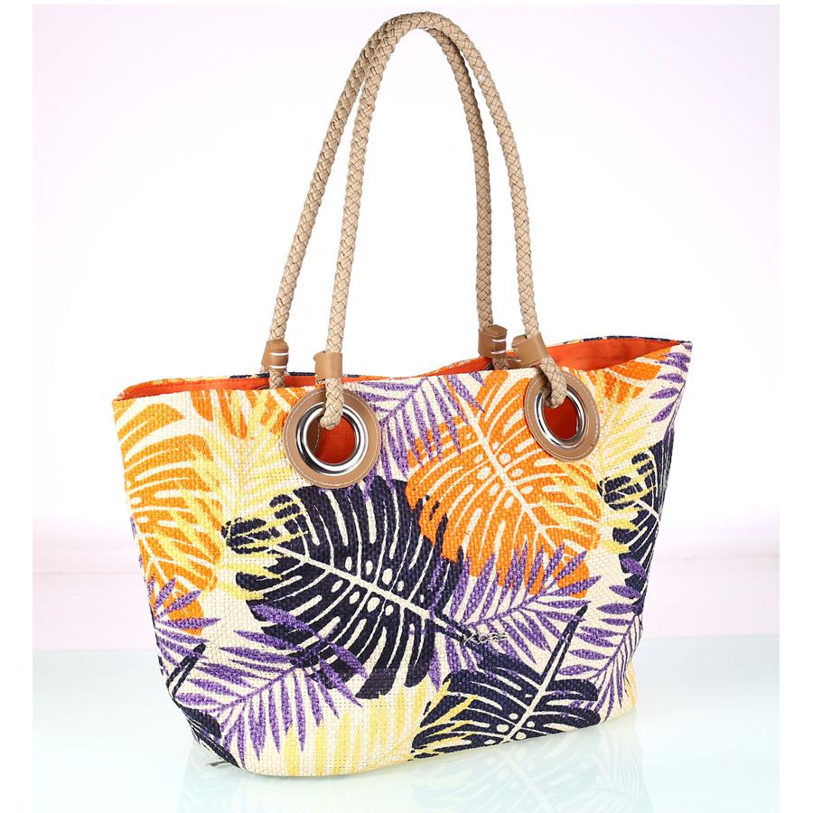 Dámska plážová taška zo syntetickej rafie Kbas oranžová