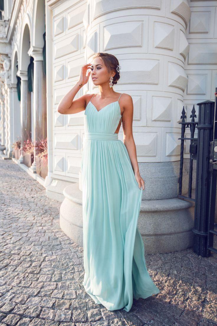 Green backless prom dress   Sexy Prom Dress Evening Dress Aline Mint Green Evening