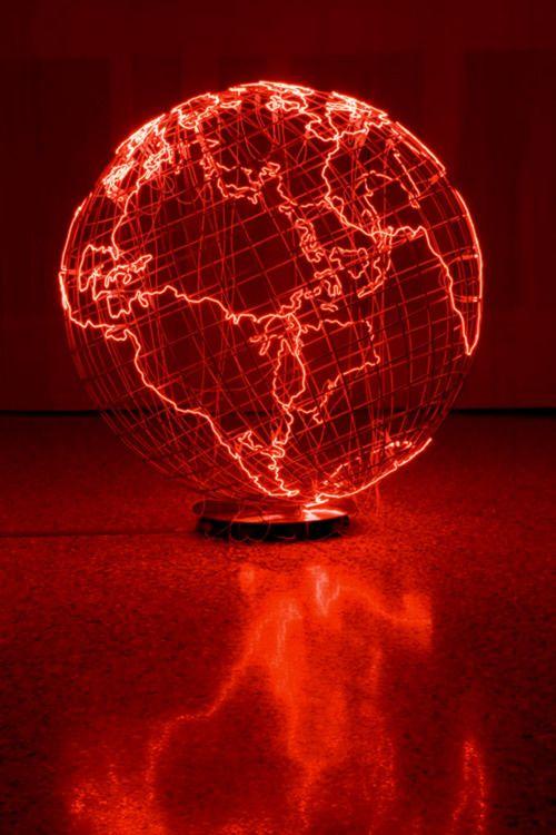 Giant Globe Emanates A Fiery Blaze #redaesthetic