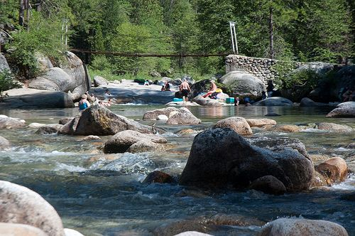 Wawona Swinging Bridge swimming hole in Yosemite National Park So