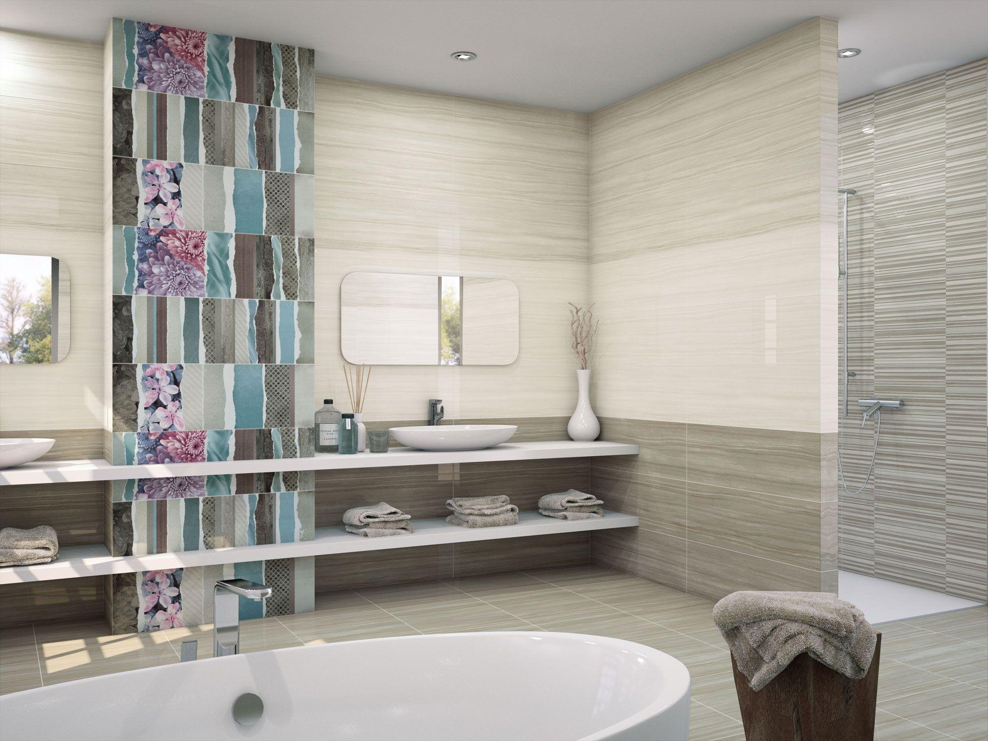 Neutral tones #bathroom with original and decorative wall ...