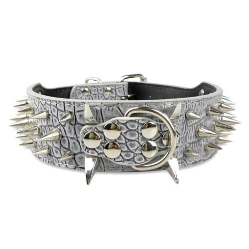 2.0 inch Wide Leather Dog Collar Spiked Cool Sharp Metal Studded Black M L XL