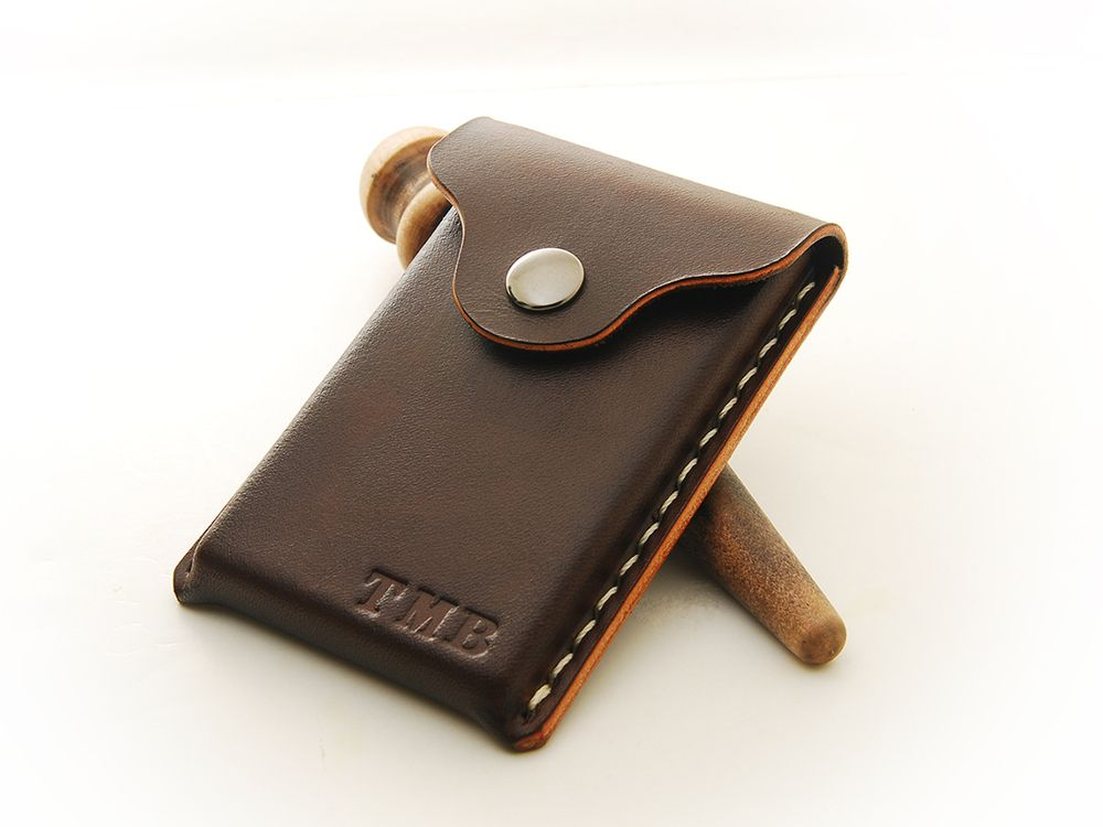 Image of Leather Business Card Holder Personalized | Belt Pouch ...
