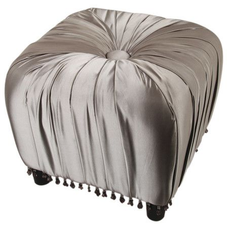 Tufted ottoman in silver with pleated upholstery and tassel fringe ...