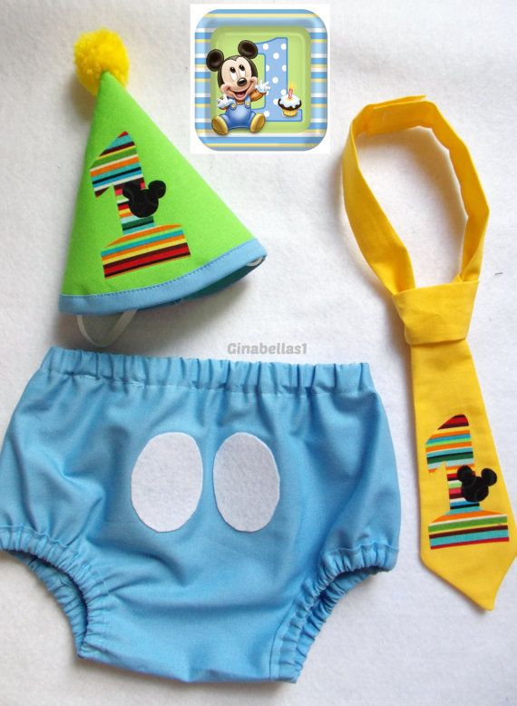 Mickey Mouse Birthday Cake Smash Baby Blue Outfit First Boy Minnie Hat Diaper Cover Bow Tie Twins Brother Sister 9 12 18 24 M Toddler