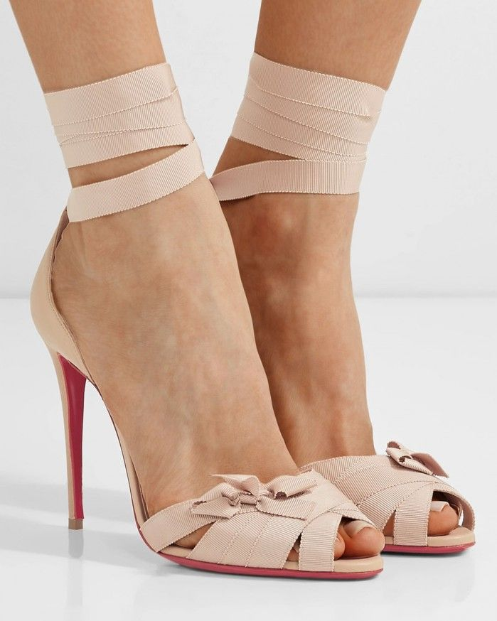 CHRISTIAN LOUBOUTIN Christeriva bow-embellished grosgrain and suede sandals  - Shoes Post
