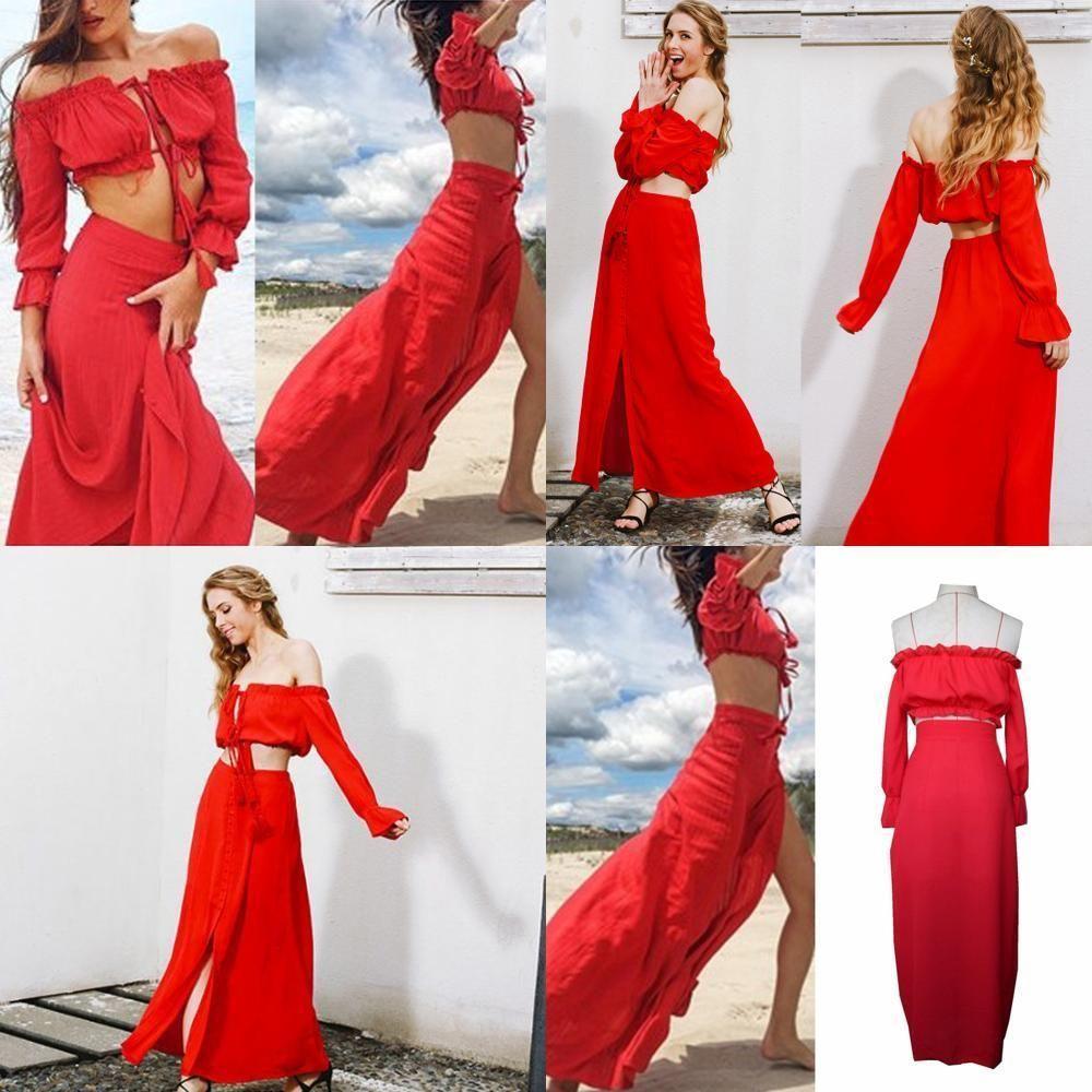 Off shoulder design two piece sets beach summer dress vintage club