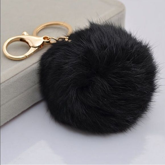 Black Gold Pom Pom Keychain Purse Accessory Very cute to clip on your bags! Other colors and multiples available! Accessories