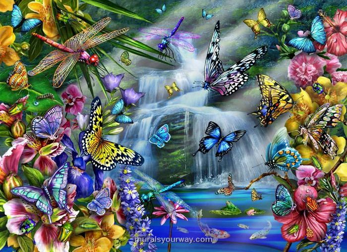 Butterfly garden mural butterfly waterfall wall mural for Butterfly mural wallpaper