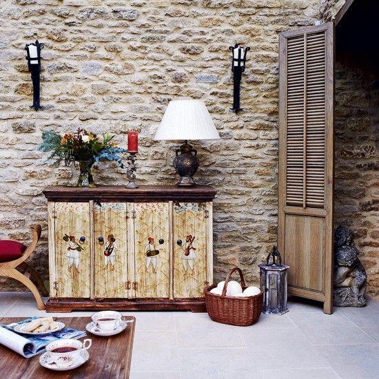 Wohnzimmer mit Steinwand Wohnideen Living Ideas Interiors - wohnzimmer design steinwand