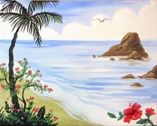 Paint Nite Drink Party We Host Painting Events At Local Bars Beach PaintingsPainting PicturesCanvas