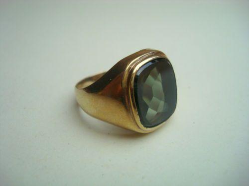 herren ring gold 333 mit gr nem stein turmalin siegel ring. Black Bedroom Furniture Sets. Home Design Ideas