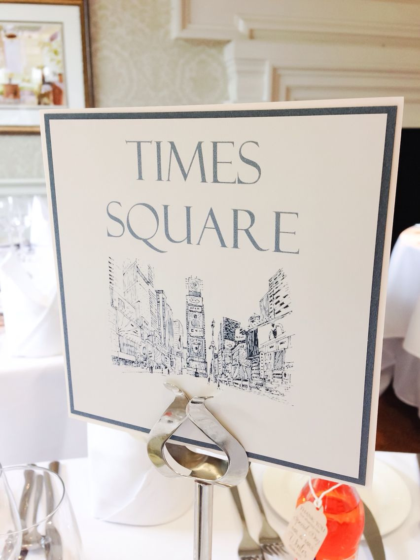 New York theme wedding tables name number cards Times Square ...