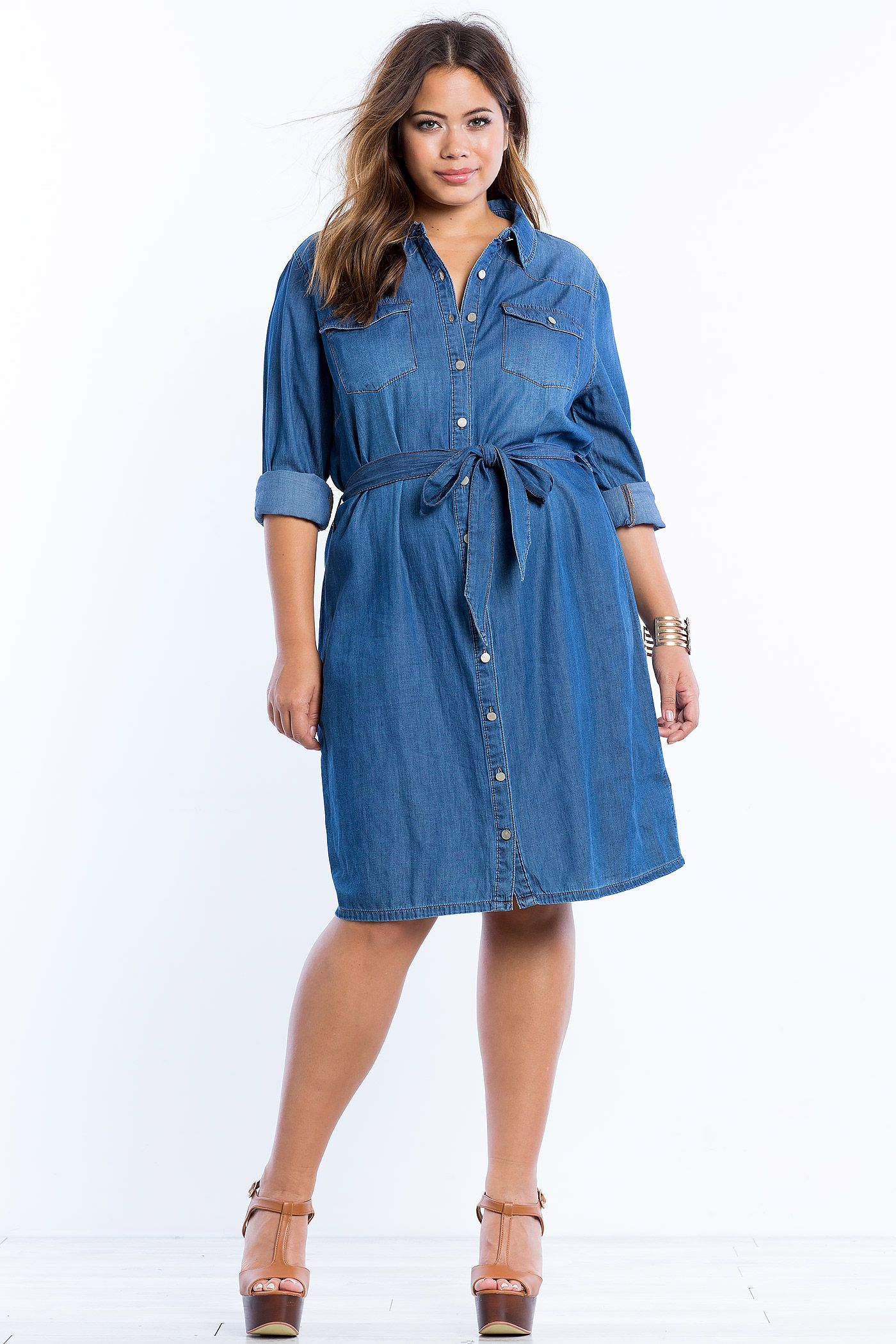 Plus Size Chambray Belted Shirt Dress | Plus Size Fashion | Denim ...