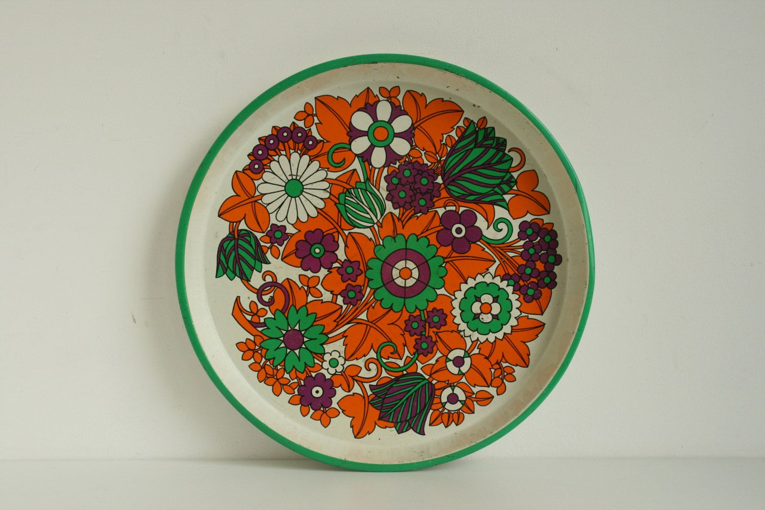 Vintage Tin Serving Tray Retro 1960s - 1970s orange green purple flowers by vintagemoodsNL on Etsy