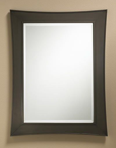 "167 – Mirror frame features an ""Oil Rubbed Bronze"" finish with a hand rubbed glaze and 1″ beveled edge mirror 27″ wide, 35″ high and 1″ deep"
