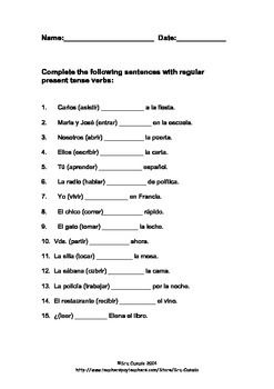 Spanish Present Tense Regular Verb Exercise | Español ...