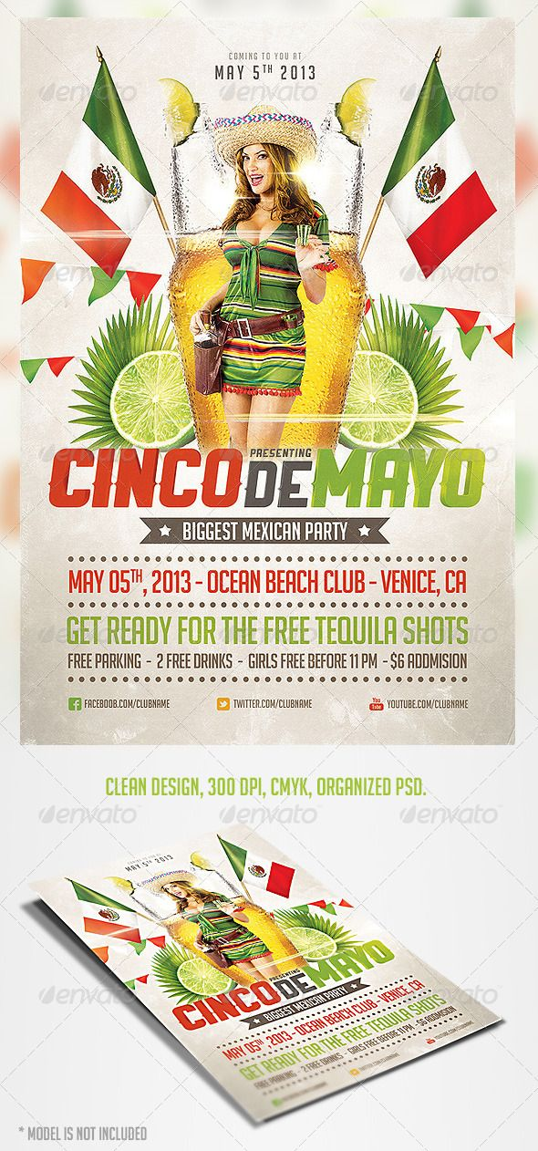 Cinco De Mayo Party Flyer   Party Flyer Flyer Template And Template