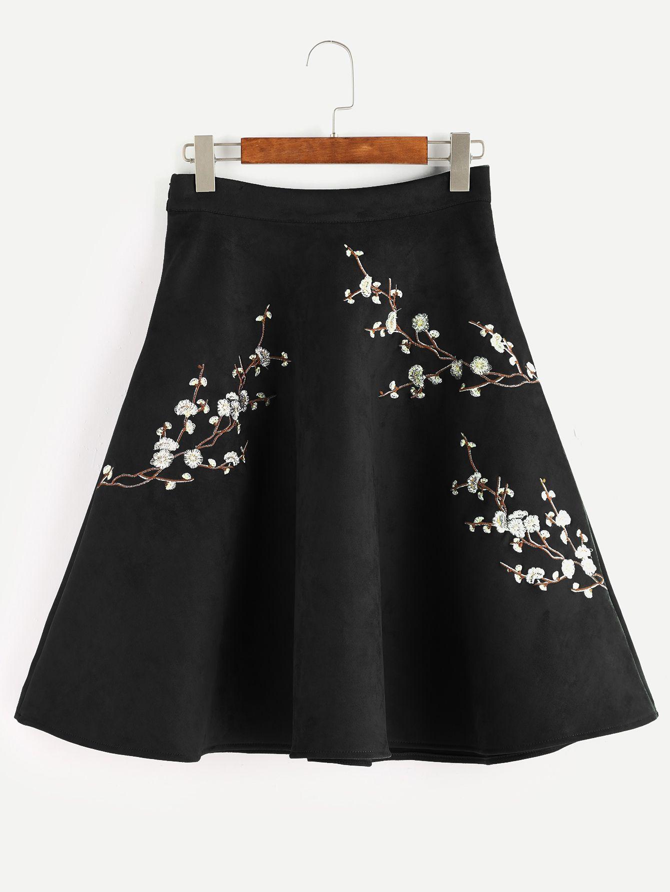 bc565afb0b Black Plum Blossom Embroidered Suede A-Line Skirt -SheIn(Sheinside ...