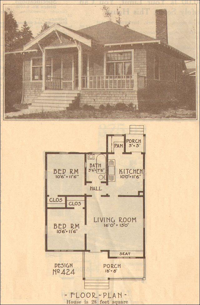 1915 Bungalow Home Plan No 424 Hewitt Lea Funck Company Vintage House Plans Bungalow House Plans House Plans