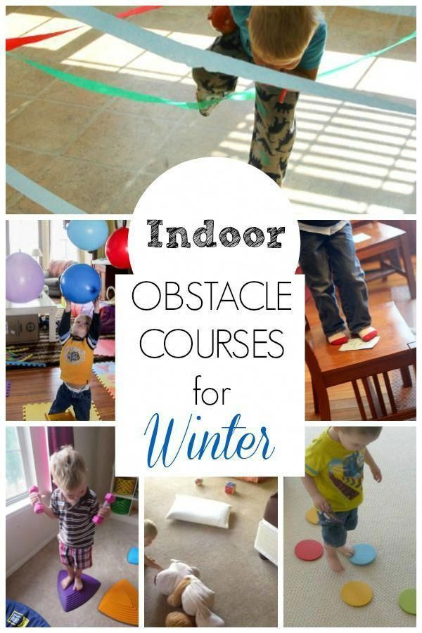 These obstacle course ideas are great for getting preschoolers moving indoors! Perfect winter activities to burn energy and use gross motor skills too.  #grossmotor #preschool #howweelearn #activities #kids #diykids #activities #games #kidsdiy #funforkids  #preschoolers #obstaclecourse #winter #toddler #themawinterpeuters