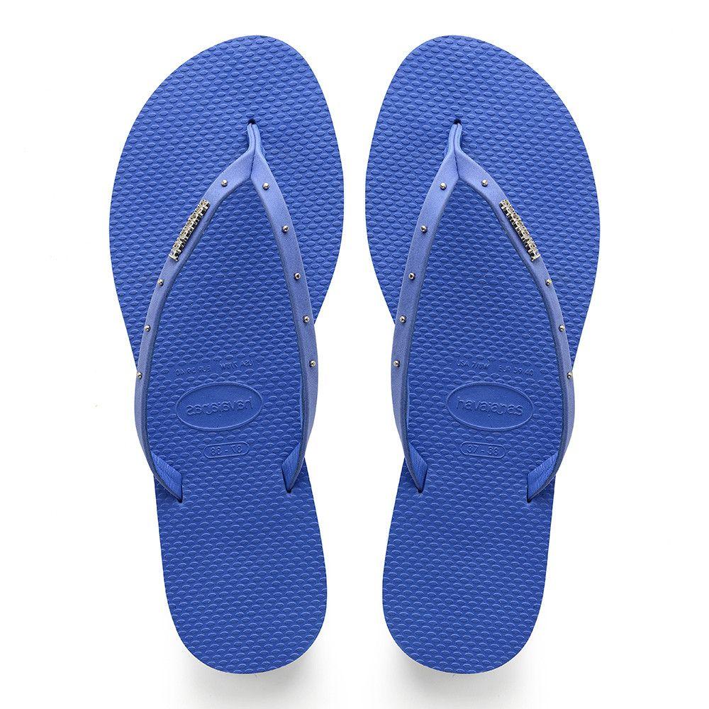 Havaianas Slim Rubber Flip Flops Sandals Women Blue Star All Sizes