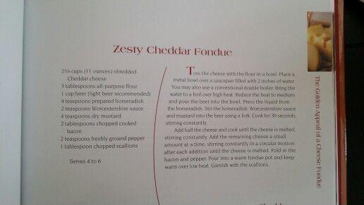 Zesty Cheddar Fondue From The Melting Pot Cookbook Fondue Recipe Cheese Fondue Fondue Recipes Cheddar Fondue Fondue Recipe Melting Pot