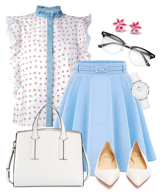 """""""Young teacher 🌼"""" by onelittleme ❤ liked on Polyvore featuring Manoush, WithChic, Christian Louboutin, French Connection, Daniel Wellington, white, Pink, skirt, Blue and blouse"""