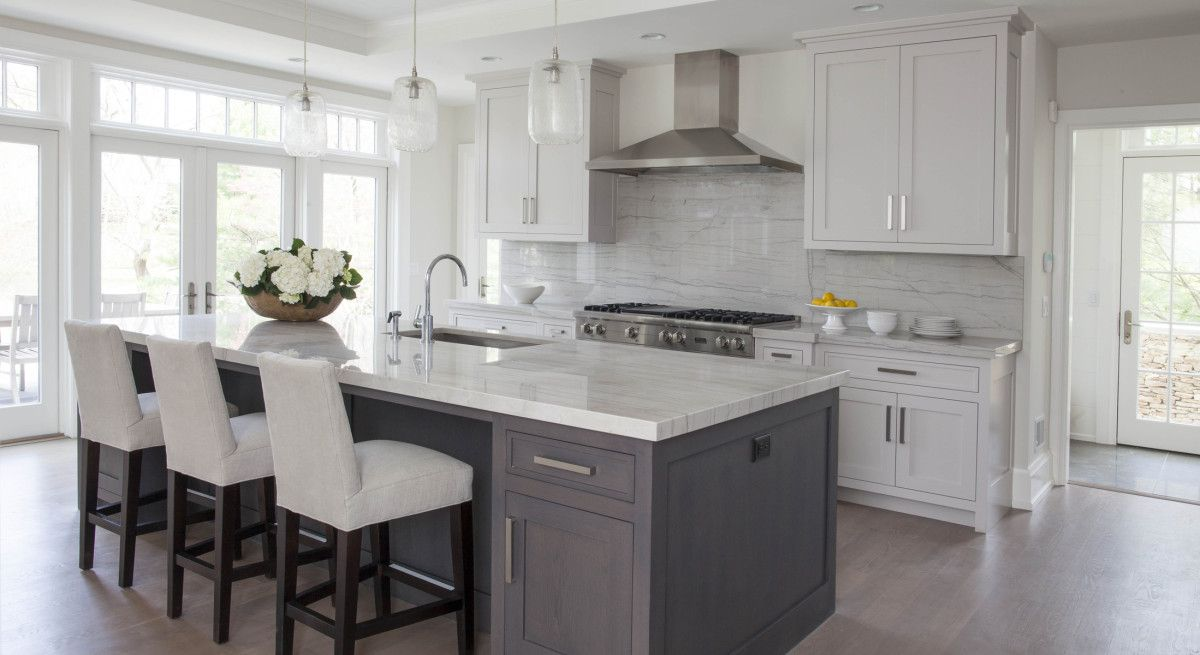 White kitchen grey island home pinterest gray for Grey blue white kitchen
