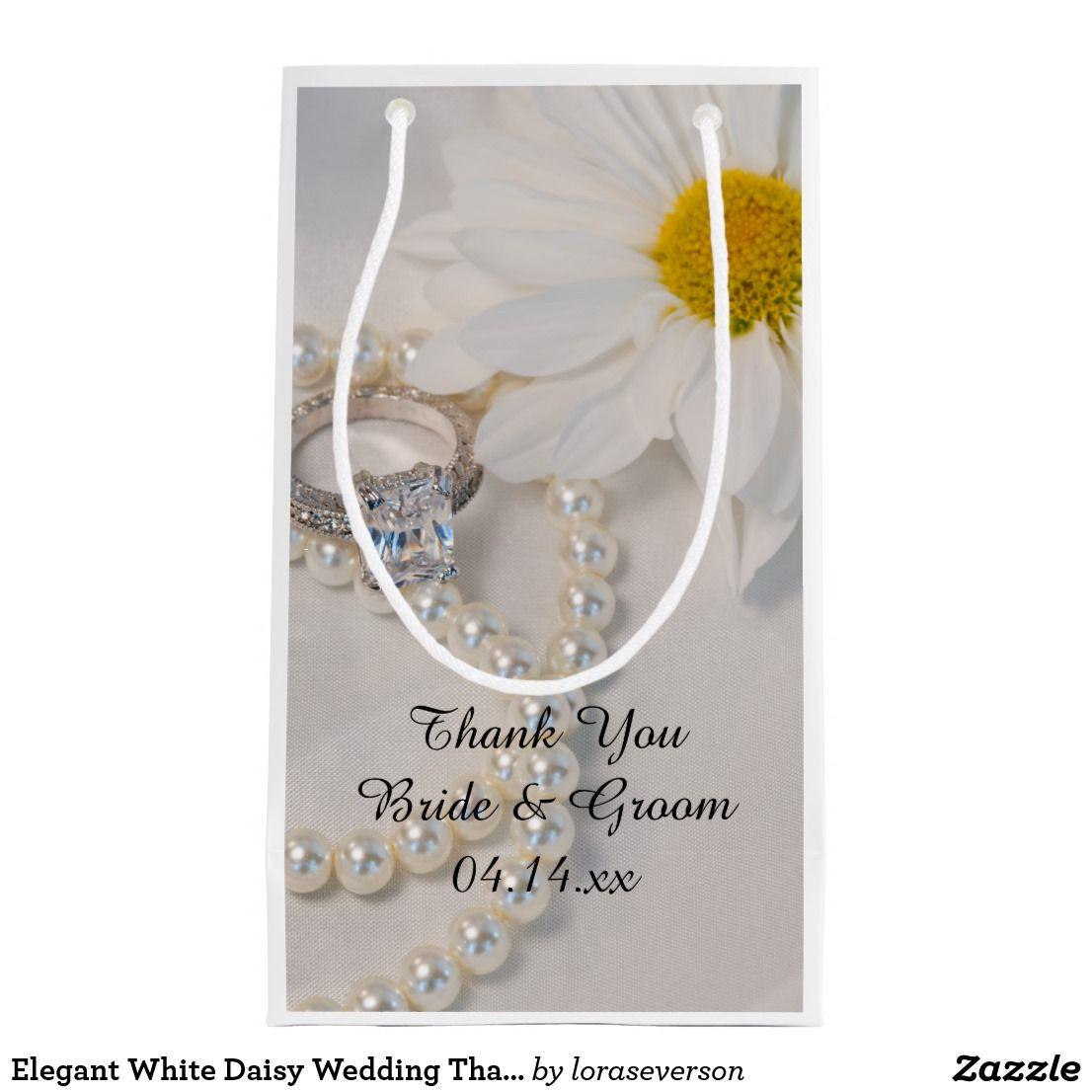 Elegant White Daisy Wedding Thank You Small Gift Bag   Wedding thank ...