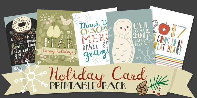 11 Printable Holiday Cards For Coworkers Students And