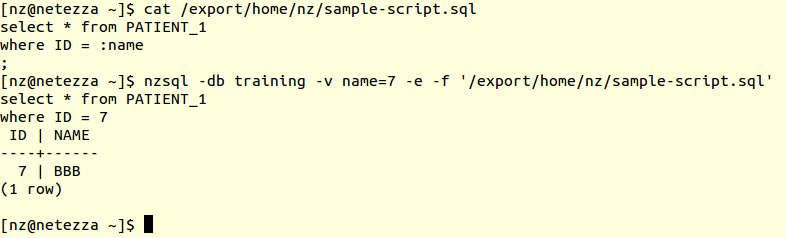 Run Netezza Sql Script File Using Nzsql Variable Substitution