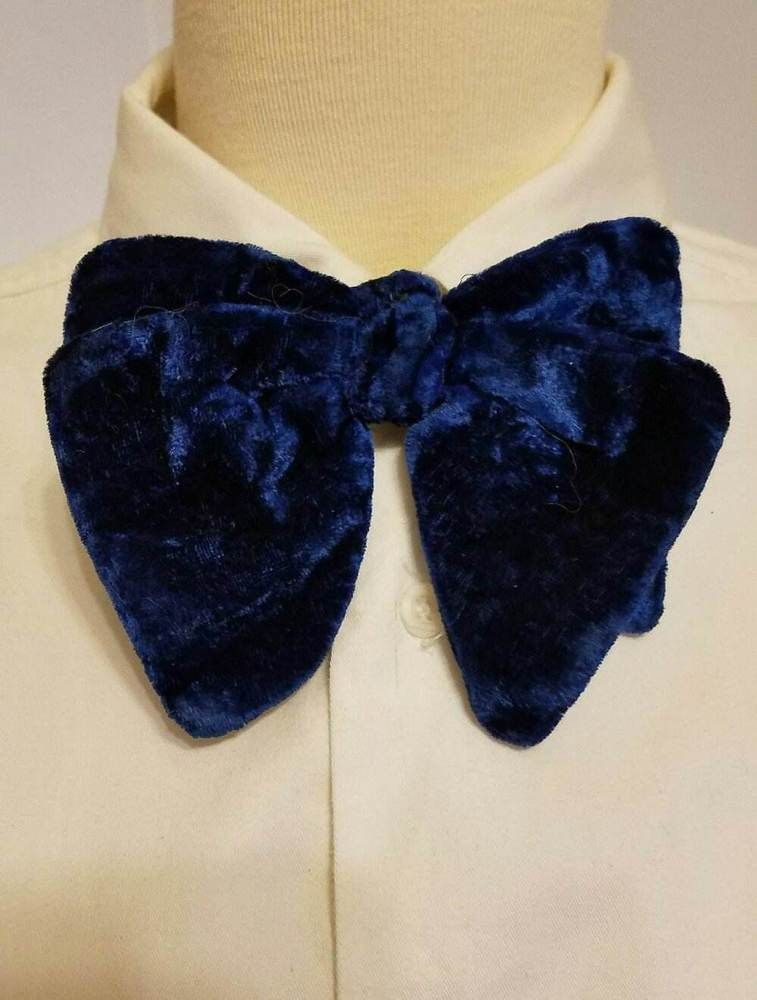 114ada26a411 Men's Royal Blue Crushed Velvet Oversized Butterfly Bow Tie Vintage Droopy  6 X 4 #RoyalApparel #BowTie