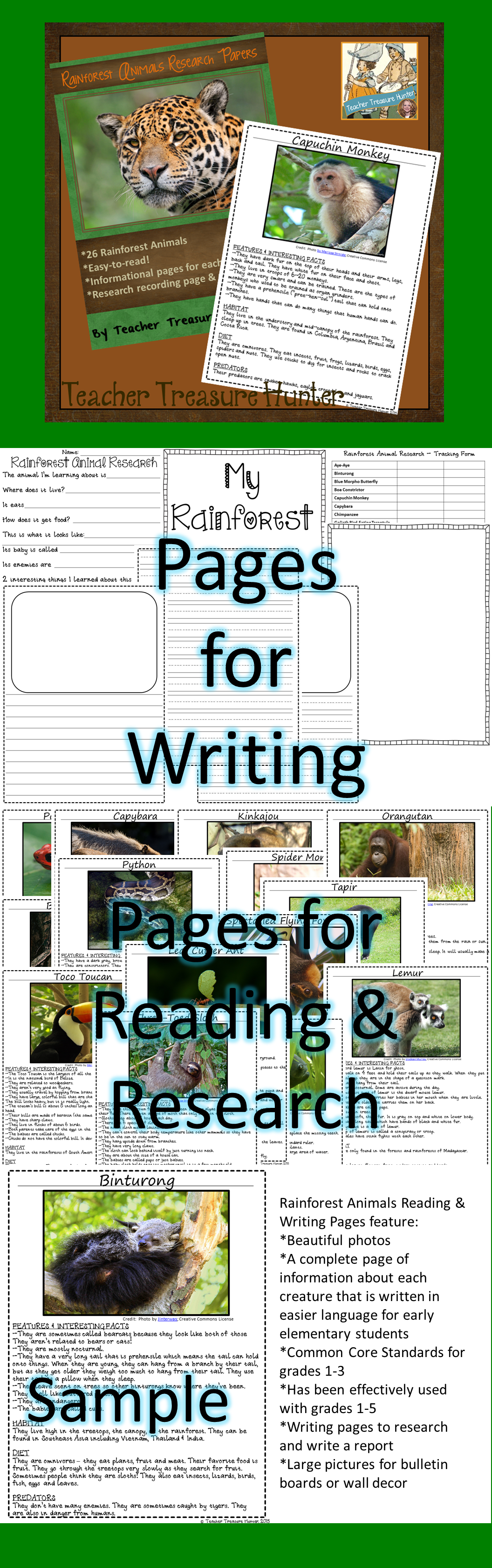 Rainforest Animals Reading Amp Writing Pages Ccss 26