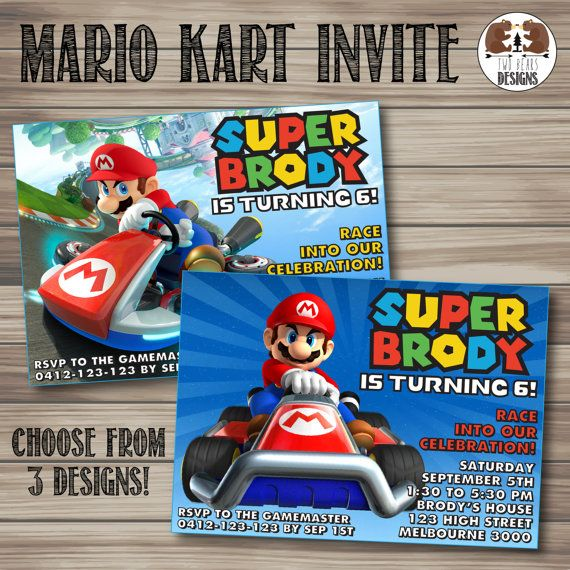 Mario Kart Invitation. Choose from 3 Picture and 2 Background Options! Printable/Digital File