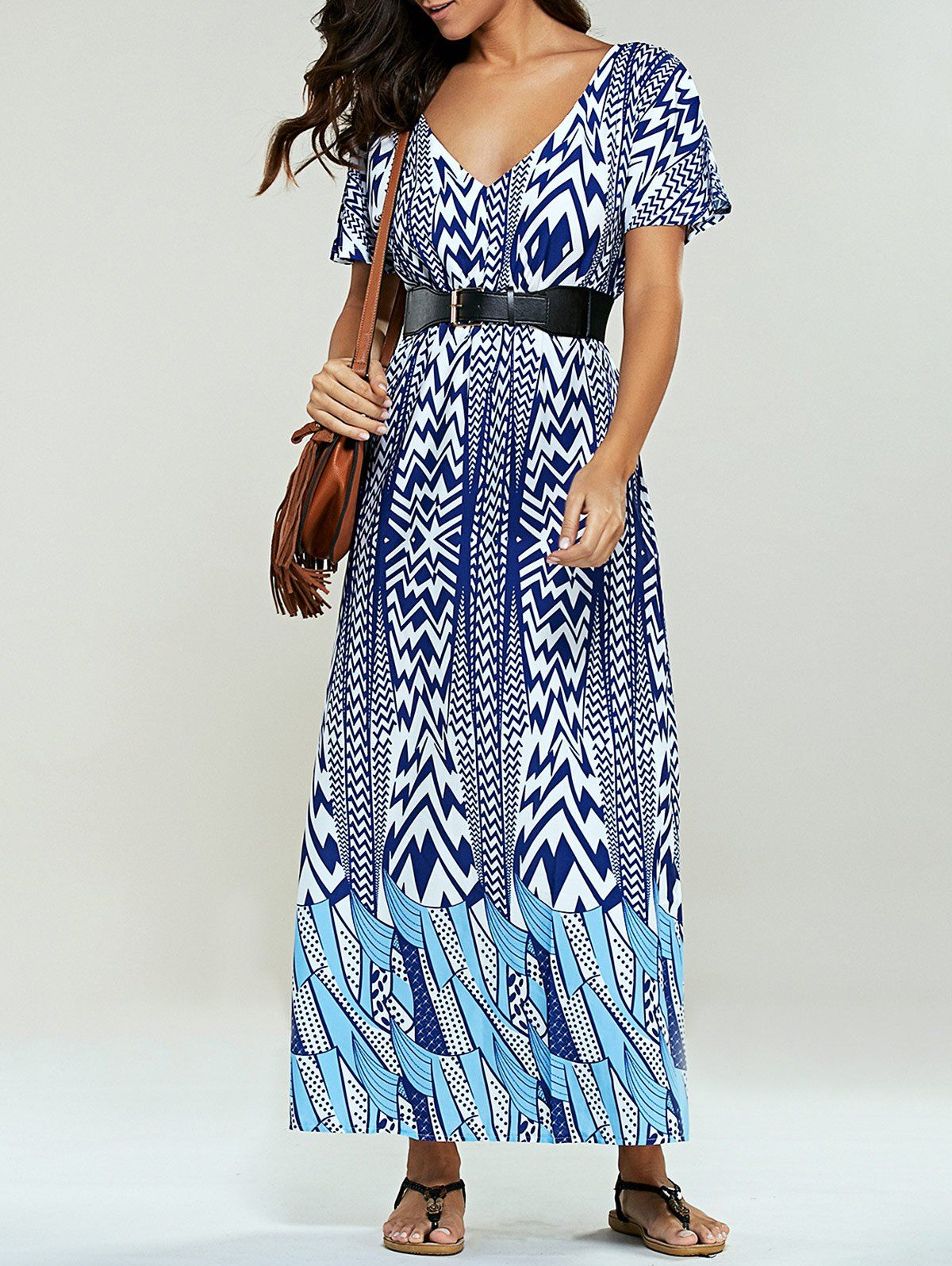 Bohemian Belted Print Maxi Dress (BLUE,S) | Sammydress.com